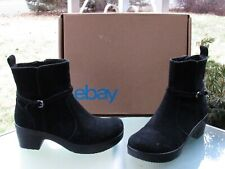 Lands' End Womens Black Suede Side Zip Ankle Boots Size 7