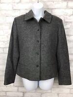 Lands End Women's Heather Gray Lambswool Wool Blazer Jacket Size 8