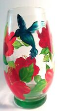 Hand Painted Vase with Red Hibiscus Flowers and Hummingbird