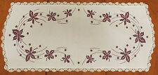 3 Vintage Hand Embroidered Table Runners With Flowers & Scalloped Lace Edging