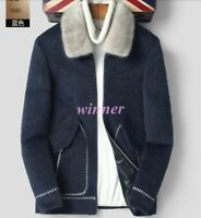 100% Cashmere Wool Fleece Fur Lapel Collar Mens Winter Warm Trench Coats Jacket