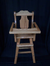 Doll High Chair  Solid Oak Amish Handmade Handcrafted Kids Toy Provincial Stain