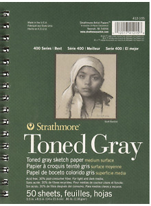 Strathmore Drawing 400 Series Toned Gray Sketch Pad, 5.5x8.5, 50 Sheets