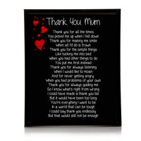 Thank You Mum Poem 10x8 Picture With Optional Frame Birthday Mothers Gift P25
