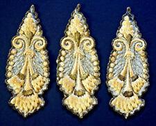 1900s Antique Vtg Silk Embroidered Medallion Appliques_Metallic Gold_Hat Trim