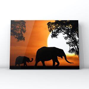 Animal canvas wall art - Elephants at sunset