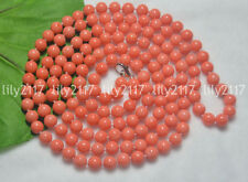 """Natural 7-8mm Genuine Pink Coral Gemstone Round Beads Jewelry Necklaces 28-48"""""""