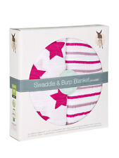 Lassig Muslim Cotton XLarge Swaddle & Burp Baby Blankets, 2-pack Stars & Stripes