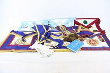 12 x Assorted Vintage Masonic Regalia Inc. Aprons, Collars, Jewels, Gloves, Book