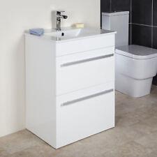 600mm Floorstanding Bathroom Vanity Unit & Basin Single Tap Hole White Gloss