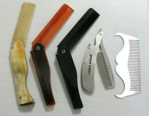 1 Men's Folding Pocket Hair Comb Stainless Steel Metal Plastic Moustache Beard