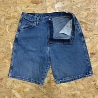 Men's Vintage Wrangler Denim Shorts Relaxed Fit Mid Wash Blue Size W32 Zip Fly