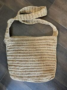 New! Soft woven jute crossover purse bag 13 X 15 tote hand made hobo