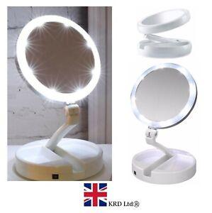 LED Folding DOUBLE SIDE MAKE UP MIRROR 10x Magnification Illuminated Cosmetic UK