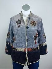 Flashback Embroidered Tapestry India Jacket Bohemian Coat Boho Art Blue Red Gray