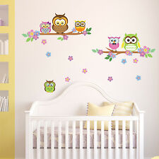 Wall Stickers Mural Decal Paper Art Decoration Cute Owl flower Tree Kids