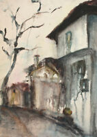 1988 Impressionist cityscape watercolor painting signed
