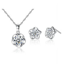 18K White Gold Plated A++ Zircon CZ Flowers Kids Jewelry Sets for Children Girls