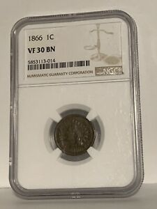 1866 INDIAN PENNY NGC VF-30 CONDITION GREAT DATE ALWAYS IN DEMAND