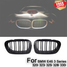 2x Double Line Gloss Black Dual Slat Kidney Grille Grill For 98-01 BMW E46 2D