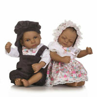 "Realistic Handmade Girl Boy Baby Twins 11"" Silicone Reborn Black Dolls Xmas Gift"
