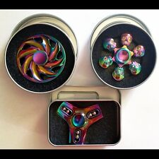 3x Rainbow Hand Spinner Fidget Toy HIGH QUALITY - Whirl round, Skull and Beads