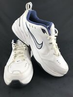 NIKE Men's White/Blue AIR MONARCH Lace Up Full Length Air Shoes/Sneakers Size 11