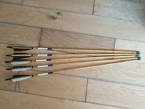5 Vintage Metal Tip Hunting Arrows Wooden Shaft Feather Flights Longbow Archery