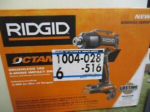 RIDGID Octane R86039B 18V 1/4in Brushless 6-Mode Impact Driver NEW Free Shipping