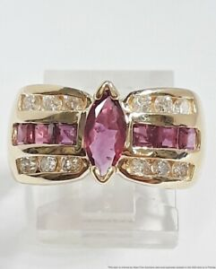 Vintage 14K Yellow Gold Fine Diamond Ruby Channel Set Ladies Ring Size 6.75 4.7g