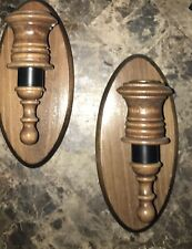 Vintage Home Interiors Wooden Brass Wall Sconce Candle Votive Cup Holder