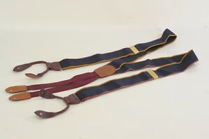 Cole Haan Blue Red Burgundy Leather Solid Brass Suspenders Made in USA