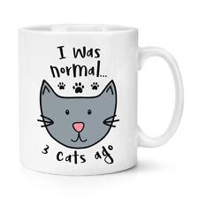 Sono stato normale 3 Gatti fa TAZZA 10 OZ (ca. 283.49 g) - divertente Crazy Gatto Gattino Lady
