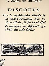 1789 Discours prononcé par le comte de Mirabeau Etats de Provence Etats généraux