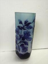 Pot Style Gallé G Galle 'Verre Blu Décoration Floral Art Nouveau 27 cm (H)