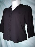 Covington Solid Soot Black Ruffled Polyester 3/4 Sleeve Dressy Shirt Size M