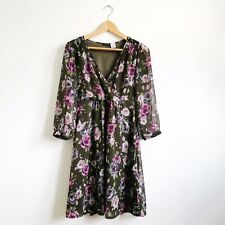 Floral Chiffon Tea Dress Size 10 V-Neck 3/4 Length Sleeve Fully Lined REDOUTE