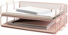Blu Monaco Pink Desk Organizer Stackable Paper Tray Set Of 2 Two Tier Tray
