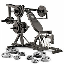 Marcy Pro PM4400 Leverage Home Multi Gym Weight Bench & 125kg Olympic Weight Set