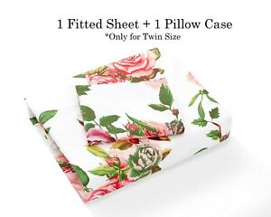 DaDa Bedding Romantic Roses Garden Fitted Bed Sheet Pink Floral w/ Pillow Cases
