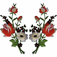 Pair of Rose Flower Patches Iron Sew On Flowers Embroidered Roses Patch Badge