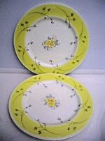 2 MIKASA ''CARESS'' YELLOW AND WHITE DINNER PLATE #7606 FLORAL 10 5/8 ''