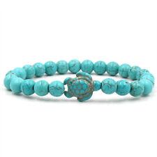 Vintage/Boho Natural Turquoise Stone Elastic 8mm Bead Turtle Bracelet.