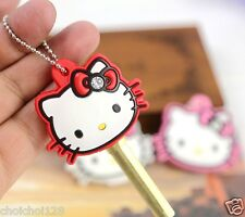 Hello Kitty Bling Soft Rubber Red Key Cap Cover Chain x 1pc KK32r