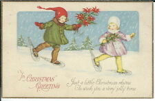 BA-097 - In Christmas Greeting, Two Girls in Snowshoes, 1915-1930 Postcard Vntg