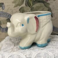 Vintage Shawnee 1950s Ceramic Elephant Planter White Blue Red Baby Nursery