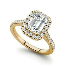 Halo Pave 1.5 Carat VS2/H Emerald Cut Diamond Engagement Ring Yellow Gold