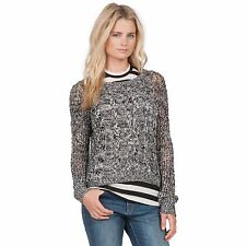 2016 NWT WOMEN VOLCOM JUST KNIT IT CREW SWEATER $50 S black pullover cable open