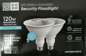 KODO 120W PAR38 5000K LED Motion Sensor Flood Light Bulb Bright White (2-Pack)