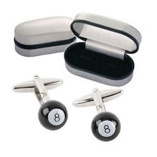 Personalised 8 Ball Pool Cufflinks In Engraved Chrome Case